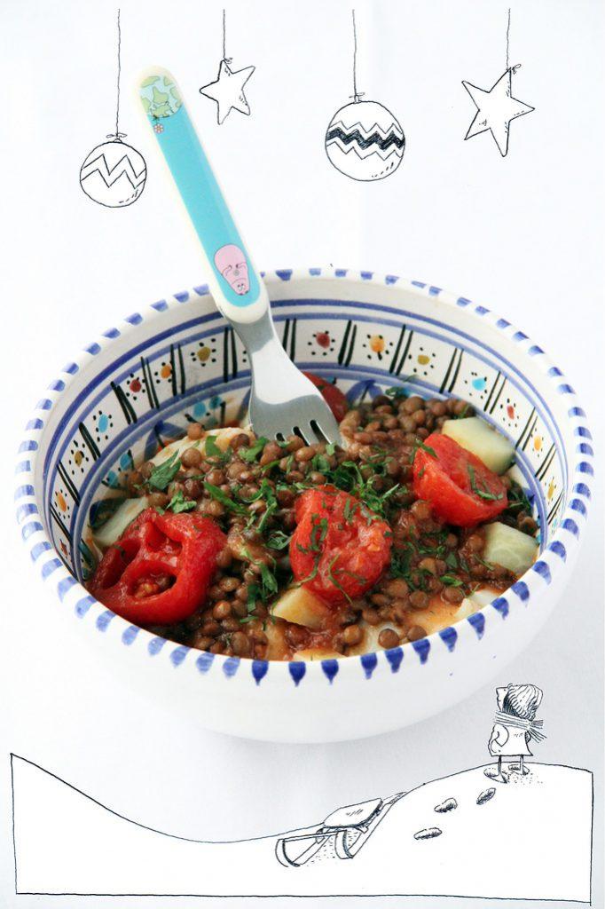 Baccalà in Umico con Patate e Lenticchie